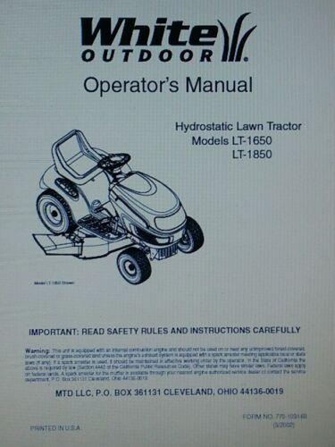 White MTD LT-1650 1850 Hydrostatic Lawn Tractor 2002 Owner