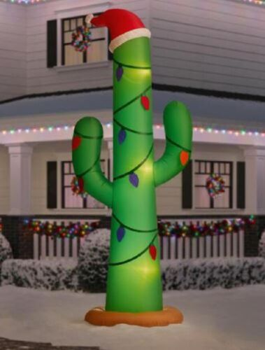 12 Ft GIANT CHRISTMAS CACTUS Airblown Lighted Yard Inflatable