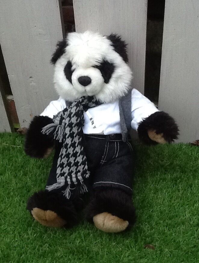 Build a bear panda with clothes and scarf
