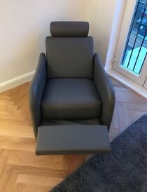 Ligne Roset Grey Leather Reclining Chair