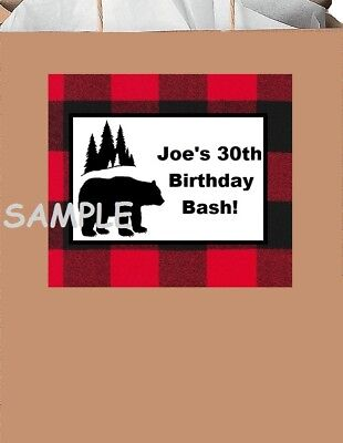 Lumberjack Party (18 Lumberjack party stickers,bear,plaid,flannel,men's)