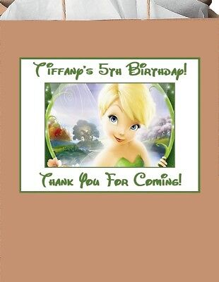18 Personalized Tinkerbell Party Stickers,3 1/4