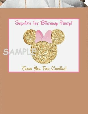 18 Pink and Gold minnie mouse ears stickers,birthday,labels,tags,party supplies - Pink And Gold Birthday Party Supplies