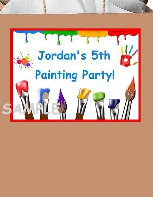 18 Personalized Painting party stickers,Birthday,Favors,Label,Shower,art,drawing - Painting Party Favors