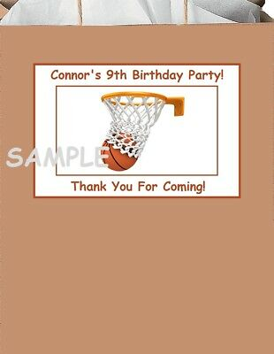 18 Personalized Sports Party Stickers,Birthday,labels,favors basketball,supplies