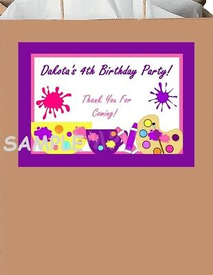 18 Personalized Painting Party Stickers,Birthday,Favors,bag labels,supplies,art - Personalized Party Bags