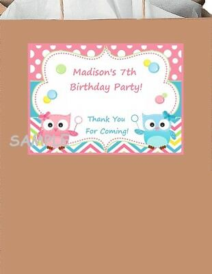 18 personalized Owl party stickers,birthday,bag labels,shower,tags,supplies,owls - Personalized Party Bags