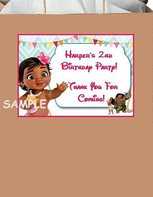 18 Personalized Baby Moana Party Stickers,Birthday Favors bag labels supplies (Personalized Party Favor Bags)