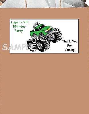 Personalized Monster Truck party stickers,birthday,labels,favors,supply,trucks - Monster Truck Party Supplies