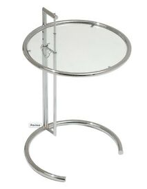 2 x Eileen Gray side tables chrome