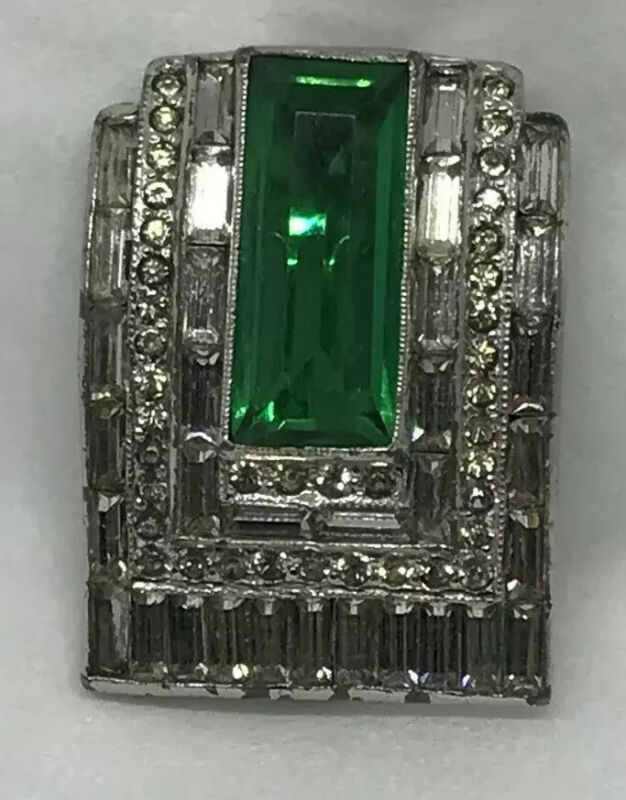 Stunning Vintage Art Deco Emerald Green White Rhinestone Baguette Fur Dress Clip