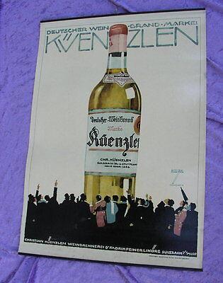 Altes Plakat Ludwig Hohlwein Künzlen Weinbrand