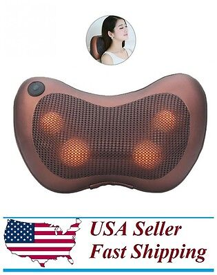Pillow Shiatsu Massage Heat Neck Massager Kneading Deep Back Shoulder Relax Pain