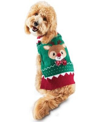 Petco Holiday Time For Joy Red Green  Reindeer  Christmas Sweater Puppy Dog Med
