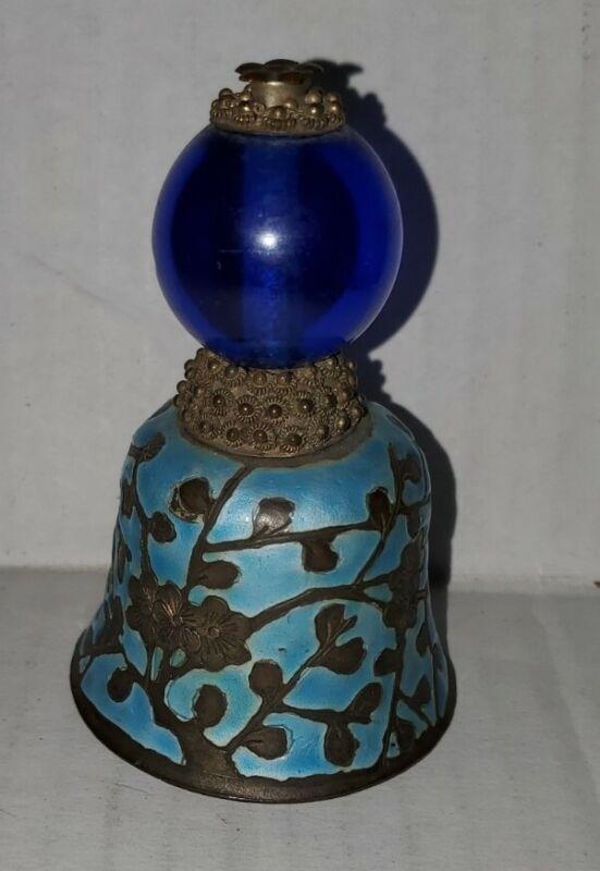 Vintage Hat Button Blue Enamel Peking Glass Bell