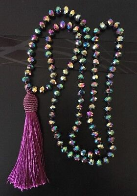 Crystal Bead Necklace (Fashion BohemianTribal Long Tassel Glass Crystal beads Necklace For Women)
