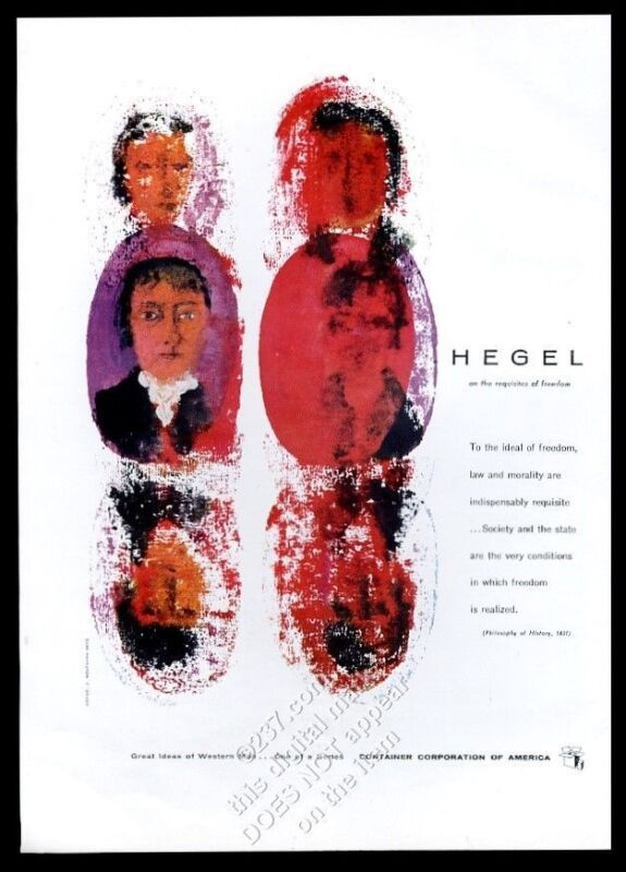 1956 Hegel quote on freedom J. Wolfgang Beck art CCA vintage print ad
