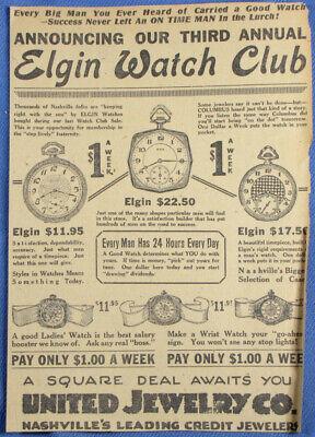 Vintage 1924 Elgin Pocket Watch Newspaper Print Ad