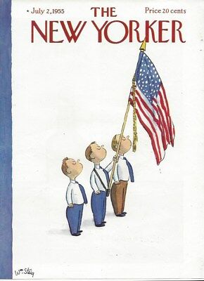 Cover Only  The New Yorker Magazine    July 2 1955   Steig   Boys Us Flag