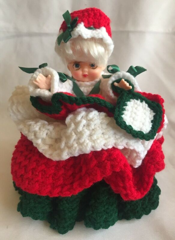 Mrs Claus Crochet Handcrafted Vintage Container Christmas