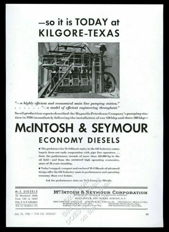 1935 McIntosh & Seymour oil industry diesel engine photo vintage trade print ad