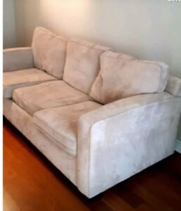 Beautiful beige suede couch (free delivery)