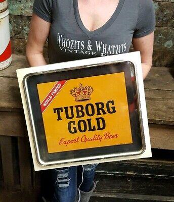 Vintage Tuborg Gold Beer Light Up Sign Working Bar Pub Man Cave Advertisement