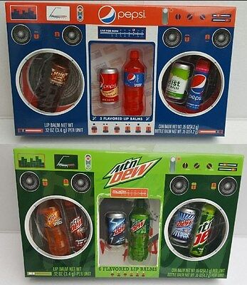 Pepsi OR Mountain Dew Flavored Lip Balms in Stylish Radio Box ()