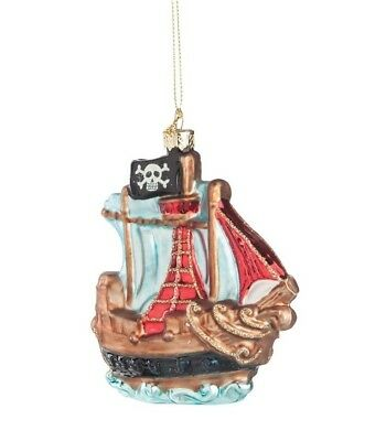 GALLERIE II PIRATE SHIP BUCCANEER GLASS HALLOWEEN CHRISTMAS ORNAMENT