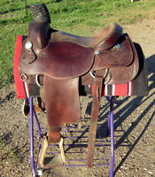 """15"""" rope saddle, excellent condition, good buy"""