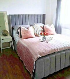 NEW LIGHT GREY PLUSH VELVET WINGBACK FRAME BED WITH GAS LIFT STORAGE