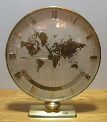 Vintage 1950's Brass Kienzle world time zone mantel / desk clock Made in Germany