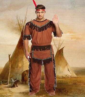 Adult Mens Male RED INDIAN CHIEF Fancy Dress Costume Native American Fun U00 088