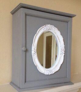 chic french grey bath wall storage cabinet white ornate mirror ebay