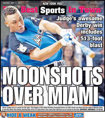 Yankees Aaron Judge Home Run Derby Champion  Ny Post 7 11 17 Newspaper