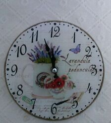 Vintage Wall Clock Table Nostalgic Country House Style Pot Lavender Shabby Chic