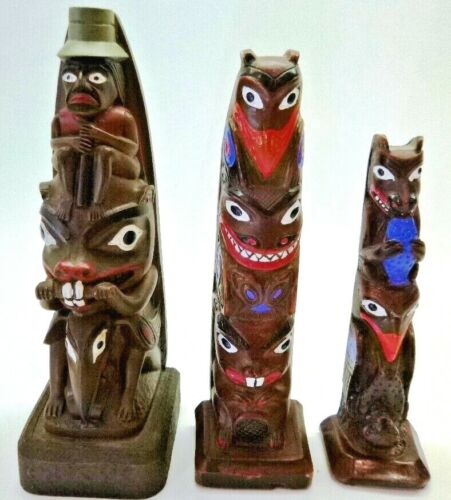 "BOMA Alaskan-Pacific Northwest Totem Poles, Set of 3: 7"", 6"" & 5"" Made in Alaska"