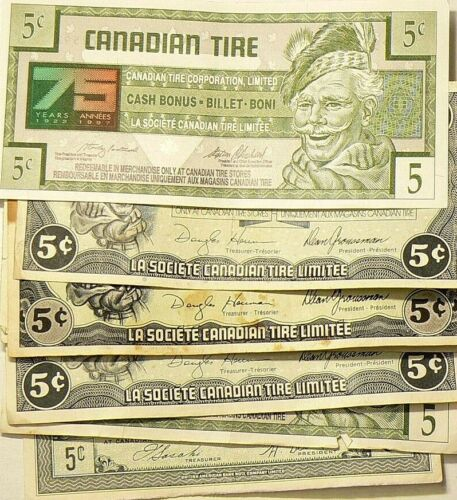 Canadian Tire Coupons 5 Cents Lot of 8 #5930