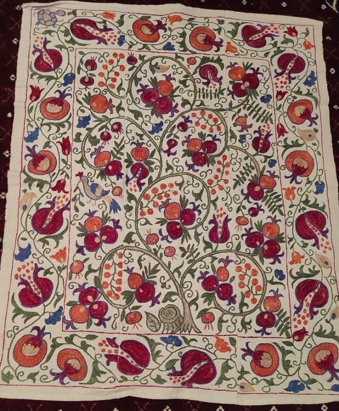 Silk Suzani wallhanging Vintage Uzbek handmade embroidery bedding89x111cm D-10A