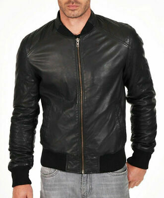 Mens Bomber Leather Jacket Varsity Genuine Sheep skin Lamb skin St-B81