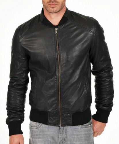 Mens Bomber Leather Jacket Varsity Genuine Sheep skin Lamb s