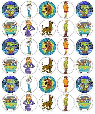 30 x Scooby Doo Cupcake Toppers Edible Wafer Paper Fairy Cake - Scooby Doo Cupcake Toppers