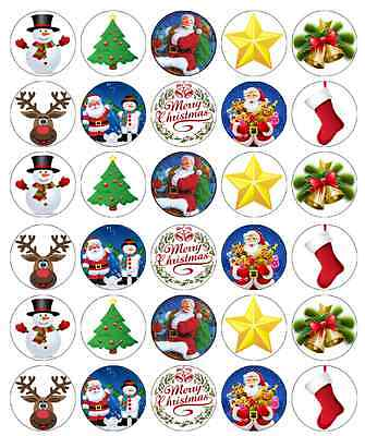 30 x Christmas Santa Edible Cupcake Toppers Wafer Paper Fairy Cake Topper ()