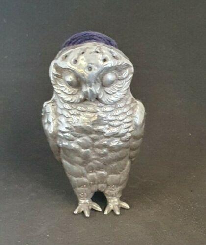 Novelty Owl solid silver pin cushion. Birmingham 1906.