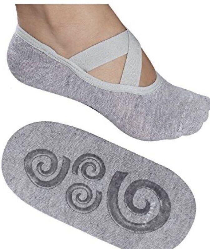Lupo Pilates Sport Non Slip Grip Sock Crossover Straps Womens Size 34-37 (Small)