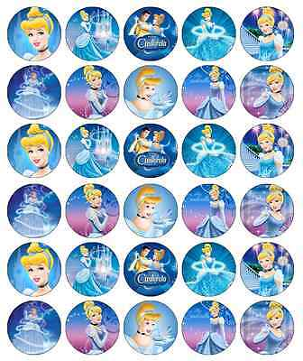30x Cinderella Disney Princess Cupcake Toppers Edible Wafer Fairy Cake Toppers