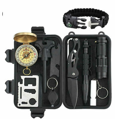 Survival Kit Military Tactical Gear Outdoor Tools camping with paracord bracelet