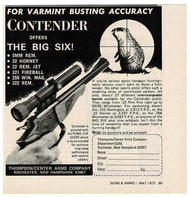 1973 Thompson Center Arms Co. CONTENDER pistol varmint hunting Vintage Print Ad