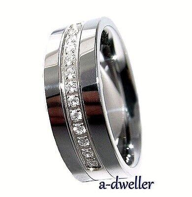 8mm Tungsten Carbide Stunning Diamond Mens Wedding Band Anniversary Ring 0.28 Ct ()
