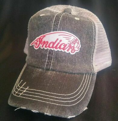 Indian Motorcycle Low Profile Mesh biker Hat Adjustable Soft Ball Cap